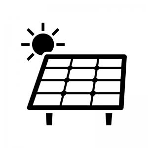 ソーラーパネルと太陽の白黒シルエットイラスト05