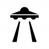 UFOの白黒シルエットイラスト
