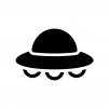 UFOの白黒シルエットイラスト02