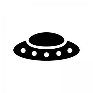 UFOの白黒シルエットイラスト03