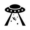 UFOの白黒シルエットイラスト04