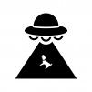 UFOの白黒シルエットイラスト05