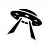 UFOの白黒シルエットイラスト07