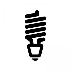 スパイラル型電球の白黒シルエットイラスト
