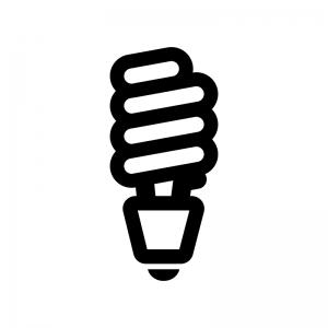 スパイラル型電球の白黒シルエットイラスト02