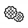 ワッフルの白黒シルエットイラスト02