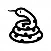 とぐろを巻いたヘビの白黒シルエットイラスト02