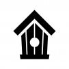 鳥小屋の白黒シルエットイラスト