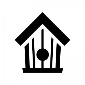 鳥小屋の白黒シルエットイラスト02