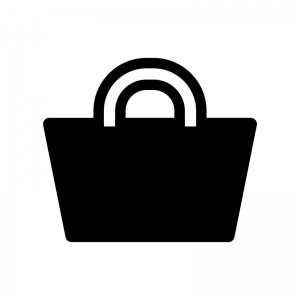 トートバッグの白黒シルエットイラスト03