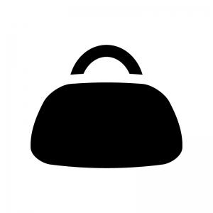 ボストンバッグの白黒シルエットイラスト
