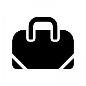 ボストンバッグの白黒シルエットイラスト02