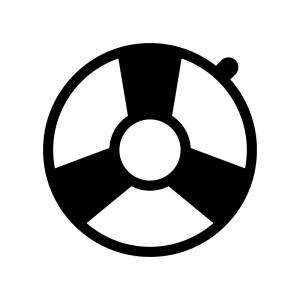 浮輪の白黒シルエットイラスト02