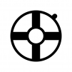 浮輪の白黒シルエットイラスト03