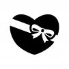 バレンタインチョコの白黒シルエットイラスト