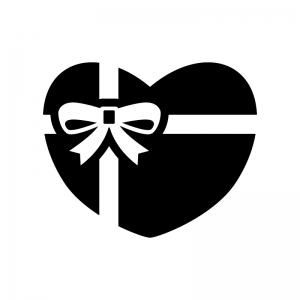 バレンタインチョコの白黒シルエットイラスト02
