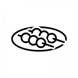 お団子の白黒シルエットイラスト02
