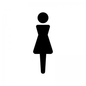 女性の白黒シルエットイラスト09