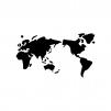 世界地図の白黒シルエットイラスト