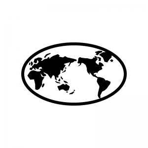 世界地図の白黒シルエットイラスト02