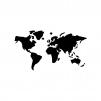 世界地図の白黒シルエットイラスト03