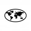 世界地図の白黒シルエットイラスト04