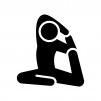 ヨガの鳩のポーズの白黒シルエットイラスト