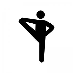 ヨガの一本足のポーズの白黒シルエットイラスト