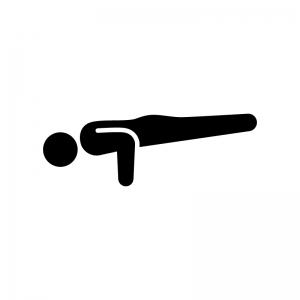 ヨガの孔雀のポーズの白黒シルエットイラスト