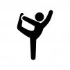ヨガの踊りの神のポーズの白黒シルエットイラスト