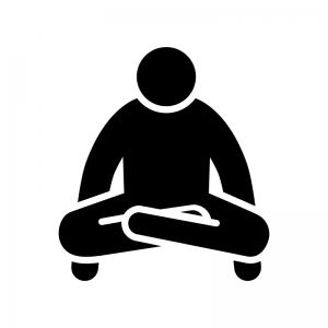 ヨガの天秤のポーズの白黒シルエットイラスト