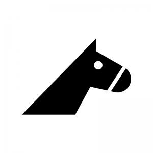 馬・サラブレッドの白黒シルエットイラスト04