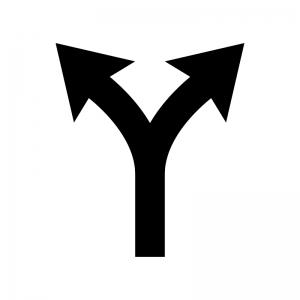 ルートガイド・分岐の白黒シルエットイラスト03