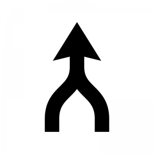ルートガイド・合流の白黒シルエットイラスト
