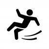 足元が滑りやすいのでご注意くださいの白黒シルエットイラスト02