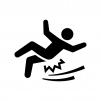 足元が滑りやすいのでご注意くださいの白黒シルエットイラスト03