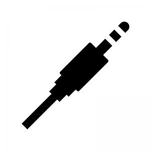 オーディオケーブルの白黒シルエットイラスト