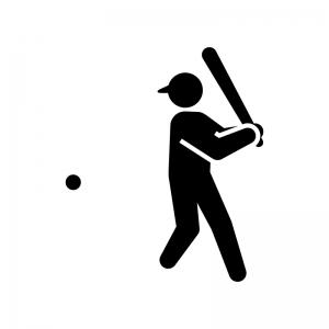 野球・バッターの白黒シルエットイラスト02