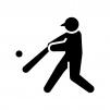 野球・バッターの白黒シルエットイラスト03
