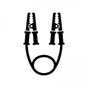 ブースターケーブルの白黒シルエットイラスト02
