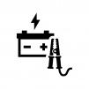 ブースターケーブルとバッテリーの白黒シルエットイラスト