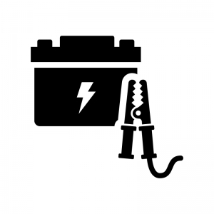 ブースターケーブルとバッテリーの白黒シルエットイラスト02