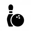 ボウリングのピンと玉の白黒シルエットイラスト02