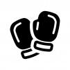 ボクシンググローブの白黒シルエットイラスト02