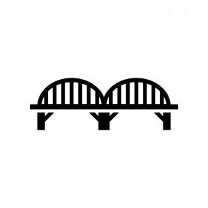 橋の白黒シルエットイラスト04