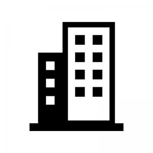 ビル群の白黒シルエットイラスト02