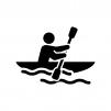 カヌー・ボートの白黒シルエットイラスト