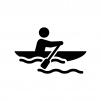 カヌー・ボートの白黒シルエットイラスト02