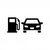 自動車とガソリン給油の白黒シルエットイラスト