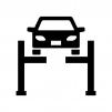 車のリフトアップの白黒シルエットイラスト